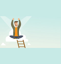 Happy businessman sitting on the cloud vector