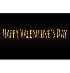 Happy Valentines Day gold glitter card template vector