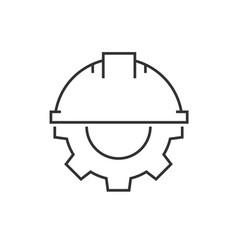 Helmet with gear icon vector