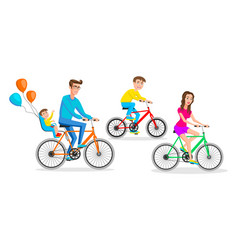 hipsters big family rides bicycles together vector image