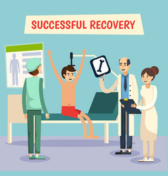Hospital doctors patient flat poster vector