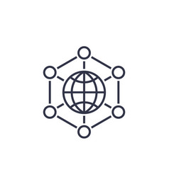 International business global markets line icon vector