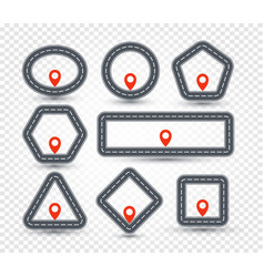 isolated geometric pin logo set road sign vector image
