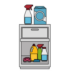 Laundry drawer with housekeeping products vector