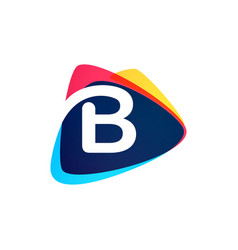 Letter b logo in dynamic triangle intersection vector