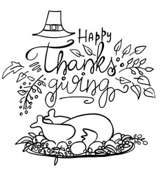 Lettering happy thanksgiving and festive turkey vector