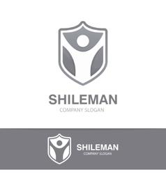 man and shield logo concept vector image