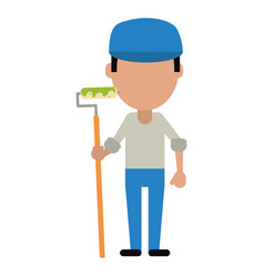 man painter with roller and cap vector image