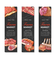 Meat product vertical banner set on white vector
