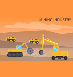 Mining industry vehicles lorry and bulldozer vector
