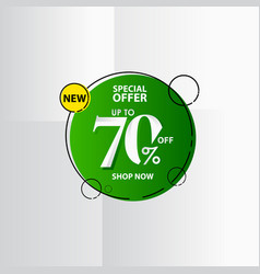 New discount label up to 70 special offer shop vector
