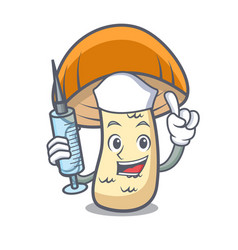 Nurse orange cap boletus mushroom character vector