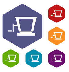 Old grape juicer icons set hexagon vector