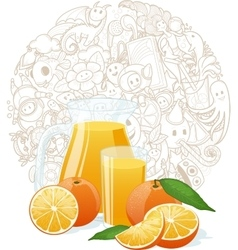 Orange Fresh with doodle background vector image
