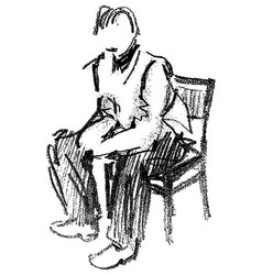 pencil outline drawing a person sitting vector image
