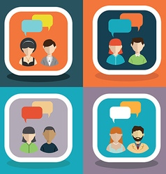 people icons with colorful dialog speech bubbles vector image