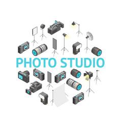 photo studio equipment round design template ad vector image