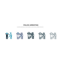 Police arresting man icon in different style two vector