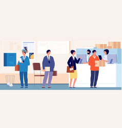 Post delivery office mail service crowd people vector