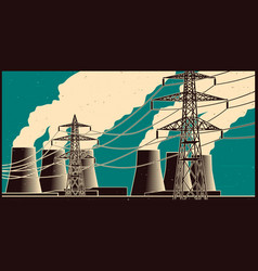 power station retro poster vector image