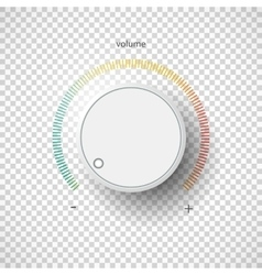 Realistic metal control panel tumbler Music audio vector image