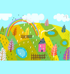 rural landscape design kids style graphic vector image