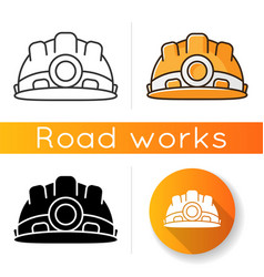 Safety equipment icon worker helmet for secure vector