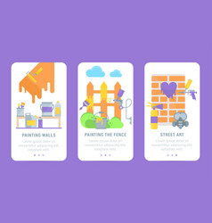 set cards tools for painting vector image