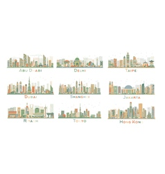 Set of 9 Abstract City Skyline vector