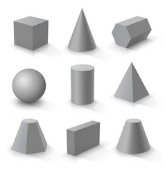 set of basic 3d shapes vector image
