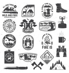 Set outdoor adventure quotes symbol concept vector