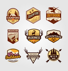 set outdoor adventure vintage logo emblem vector image