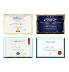 Set templates diploma currency border vector