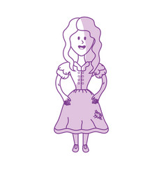Silhouette pretty woman with hairstyle and dress vector