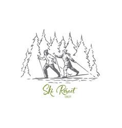 ski sport winter mountains snow concept vector image