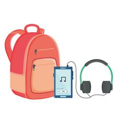 Smartphone with music earphones and schoolbag vector