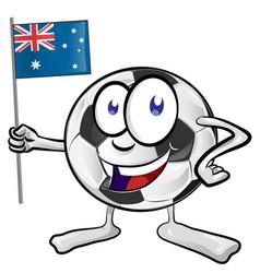 soccer ball cartoon with australian flag vector image