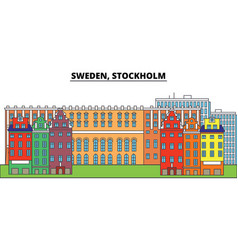 sweden stockholm city skyline architecture vector image