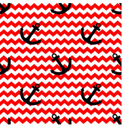 tile sailor pattern with anchor and zig zag stripe vector image