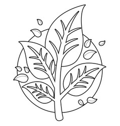tree branch with leaves coloring page vector image