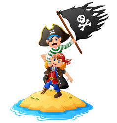 Two funny pirate with holding pirate flag vector