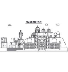 Uzbekistan line skyline vector