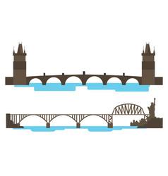 vintage bridge across the river vector image