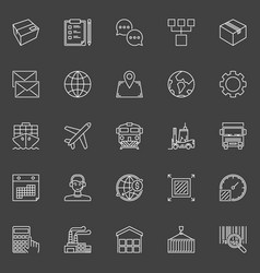 Warehouse and logistics outline icons vector