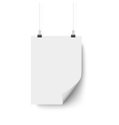 white blank paper poster hanging with bent corner vector image