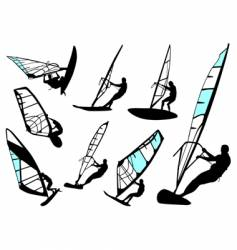 Windsurfing set vector