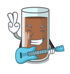 With guitar fresh chocolate splash on pouring vector