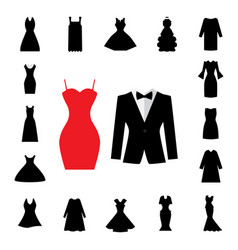 Woman dress icon isolated or gown symbol vector