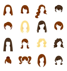 Woman Hair Icons Set vector image