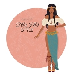 Young beautiful woman Boho style fashion girl vector image